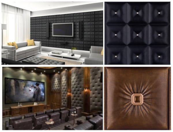 Man Cave Wall Treatments with Faux Leather Tiles