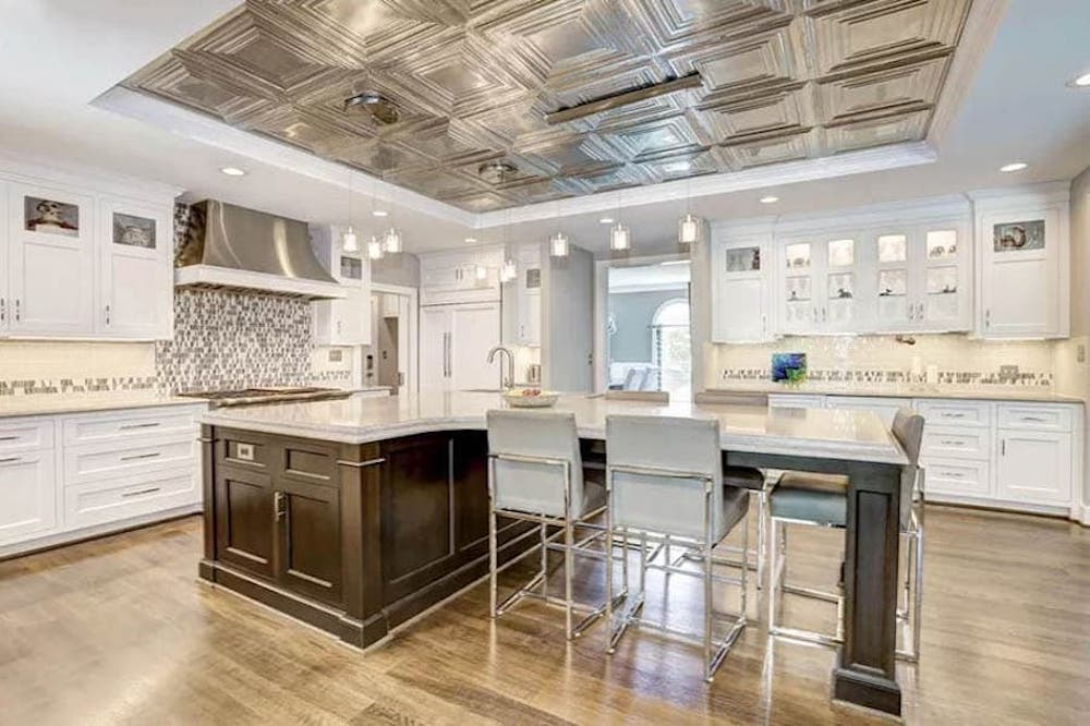 Beautiful Kitchen with Tin Ceiling Tile Inset