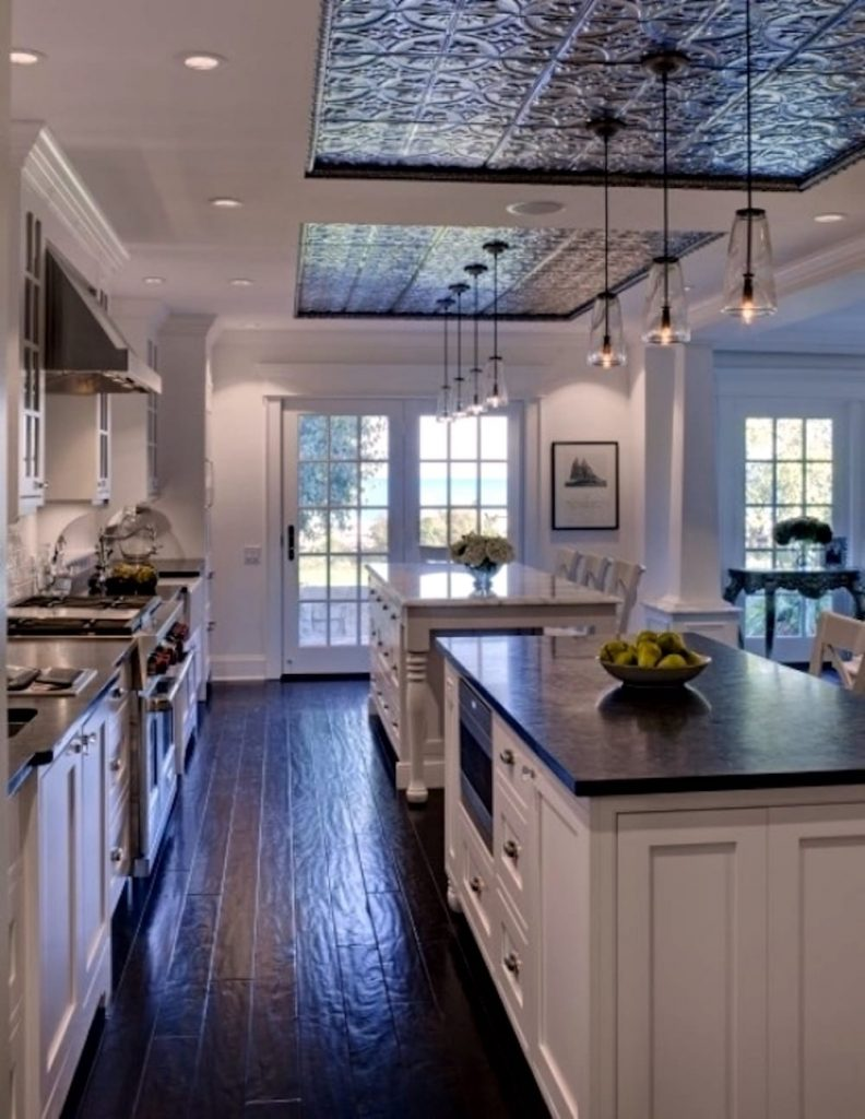 Ceiling-Tile-Inset-Mirroring-Beautiful-Kitchen-Island-Duo-